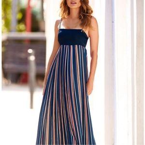 Boston Proper Navy Orange Stripe Maxi Dress